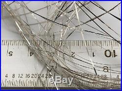 10 Antique VTG German Silver Christmas Tree Angel Hair Lametta FLAT TINSEL NOS