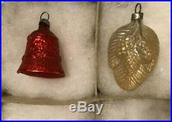 12 ANTIQUE Pink Red Silver Green Glass Feather Tree XMAS ORNAMENTS withTINSEL 1920