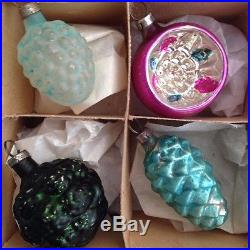 12 Antique Embossed Glass Feather Tree Xmas Ornaments German Bumpy Teal Silver