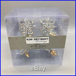 12 KIM SEYBERT Beaded Napkin Rings Set Silver Christmas Tree Gold Star Jewel NEW