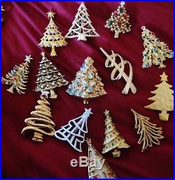 14 Vintage Silver, Blue and More Xmas Tree Pins Including Swarovski, Eisenberg