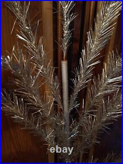 1950s 6' ALUMINUM Christmas TREE Glitter Pine with Box METAL TREES CO Stand USA