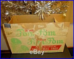 1950s Vtg Sparkler Pom-Pom Silver ALUMINUM 4 Foot CHRISTMAS Tree withOriginal Box