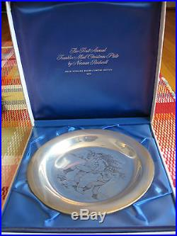 1970 Franklin Mint Christmas Platesterling Silver 925norman Rockwell Home Tree