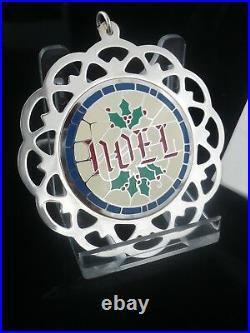 1983 LUNT Sterling Silver Enamel Christmas Tree Decoration (boxed) NOEL