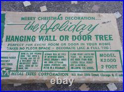 2 FT. ALUMINUM SILVER Hanging Door Christmas Tree VINTAGE IN BOX