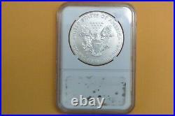 2012 W (burnished) Ngc Ms70 Silver Eagle Er Xmas Tree Label Ngc Label Damaged