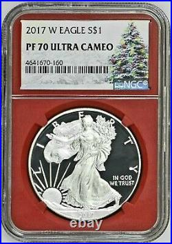 2017 W Proof Silver Eagle Ngc Pf70 Ultra Cameo Christmas Tree Label Red Core
