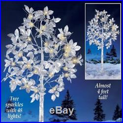 4 Ft Christmas Lighted Tree Yard Decoration 48 Light Silver Leaf Outdoor Decor