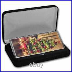 4 oz Silver Colorized Bar Christmas Tree (Vertical, withBox) SKU#237392