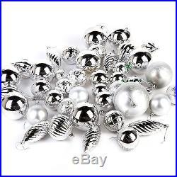 42 Piece Luxury Elegant Assorted Christmas Tree Baubles Decoration Set Silver
