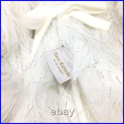 4pc Isaac Mizrahi Faux Fur 60 Tree Skirt 3 Christmas Stocking Set Silver Tinsel