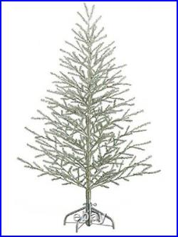 5'Hx40D Tinsel Artificial Christmas Tree on Metal Stand Antique Silver Holiday