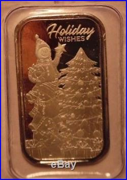 5 x CHRISTMAS 2018 1oz PURE SILVER BARS TREE & SNOWMEN! UNC & SEALED