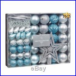 50pc Set Christmas Tree decoration Set Ice Blue & Silver XMAS TREE DECOR