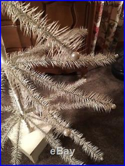 5ft Antique White German Goose Feather Christmas Treewood Standpearlsilver