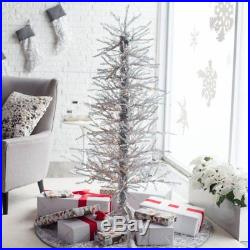 5ft Tinsel -Twig Christmas Tree by Sterling Tree Company, Silver, 5 ft