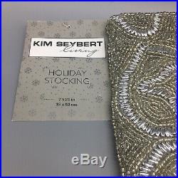 5pc Kim Seybert Silver Beaded 62 Christmas Tree Skirt 4 Stocking Set Luxury NEW