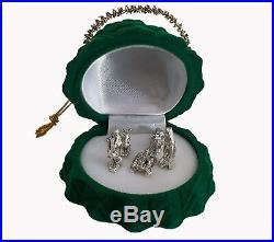 5pc Silver Plated Nativity Scene Set in Green Velvet Christmas Tree Ornament Box