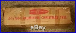 6-1/2 ft Vintage 67 Branch Aluminum Craft House Christmas Tree, Box, Instructions