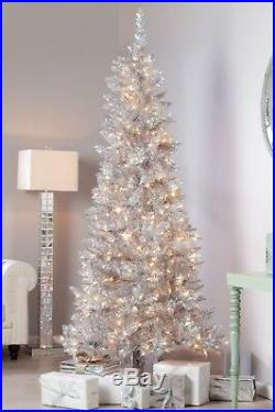 6.5 Ft Vintage Style Silver Pre-Lit Clear Christmas Tree New