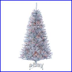 6'6Hx44W Tinsel Pine Multi Color Lighted Artificial Christmas Tree withStand -Si