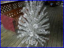 6 FT. VINTAGE ALUMINUM-SILVER FOREST POM-POM CHRISTMAS TREE 3 Bran. Short. TRIPOD