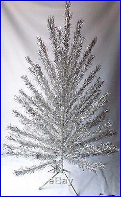 6 Feet POM-POM Aluminum Christmas Taper Tree 6 FT Silver Vintage Old Sparkler 2