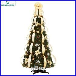6 Ft Fully Decorated GOLD SILVER Pre-Lit Pull-Up Pop-Up Christmas Tree-EASY SET