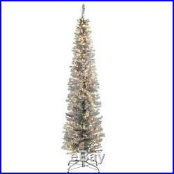 6 Ft. Silver Tinsel Tree With Metal Stand And 150 Clear Lights