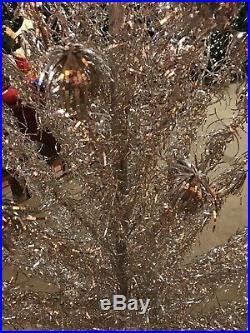6 Vintage Silver Aluminum Pom-pom Christmas Tree
