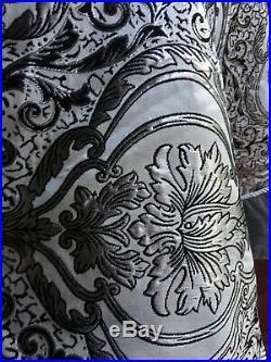 68 Christmas Tree Skirt Silver White Paisley Lustrous Luxurious Velvet Braided