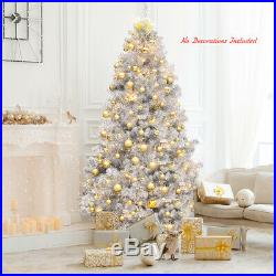 7.5Ft Hinged Unlit Artificial Silver Tinsel Christmas Tree Holiday withMetal Stand
