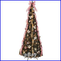 7 Victorian Style Pull-Up Christmas Tree by Holiday Peak, Gold and Blush Pink