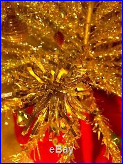 7 Vintage Atomic Silver Aluminum Christmas Tree with color wheel 100 Pom Branches