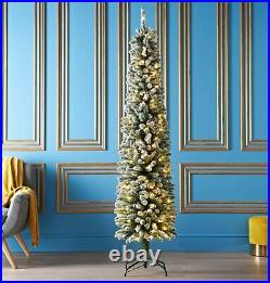 7ft Pre-Lit Slim Snowy Christmas Tree With 150 Warm White LED Lights & 350 Tips