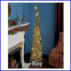 Affordable, Collapsible 65 Lighted Christmas Trees in Gold/Silver for Small