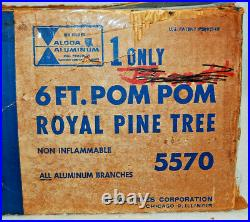 Aluminum Christmas Tree 6 Ft Pom Pom Royal Pine 93 Branches No Stand XL1306