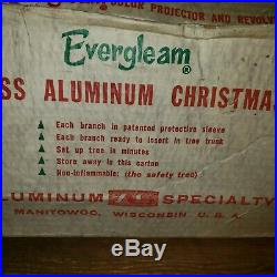 Aluminum Specialty Evergleam Deluxe 94 Branch 6 FT CHRISTMAS TREE withBox POM POM
