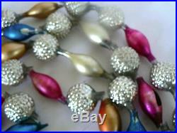 Antique 96 Victorian Germany Bumpy Silver Beaded Christmas Tree Garland