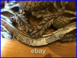 Antique Cast Iron Christmas Feather Tree Stand Germany Tree Trunk Silver Gold