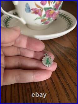 Antique Victorian CHRISTMAS Tree Green ENAMEL Solid SILVER Nouveau Charm Pendant