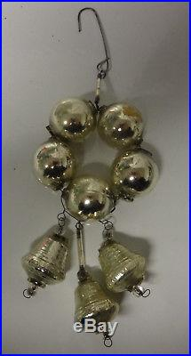 Antique Victorian Germany Christmas Tree Mercury Glass Silver Ball Bell Ornament
