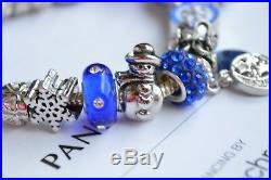Authentic PANDORA Silver Bracelet With x-mas Tree Blue Santa Christmas Charms