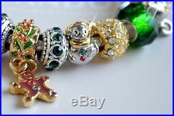 Authentic Pandora CHRISTMAS BRACELET with x-mas Tree Snowman Ornament Charms