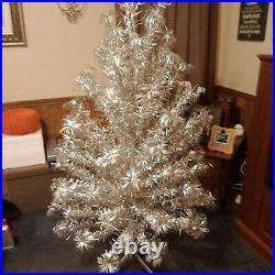 Authentic Vintage 5 ft. Silver Aluminum Christmas Tinsel Pom Pom Tree