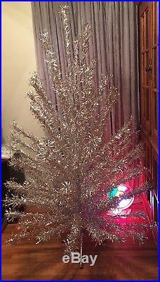Beautiful Vintage Aluminum Christmas Tree Evergleam 6 94 Branch Silver Pom Pom