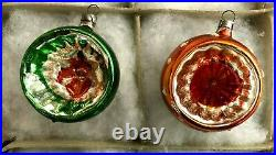 Box 12 Silver Mercury Deep Indent Reflectors Feather Tree Ornaments Germany 1940