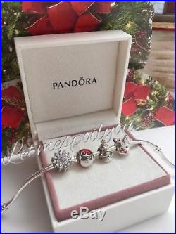 Brand New Authentic Pandora Christmas charm set snowflake Santa tree reindeer