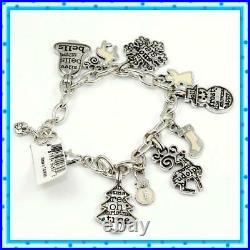 Brighton B JOLLY Silver Charm Xmas Snowman Tree Snowflake Reindeer Bracelet NWT